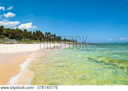 Tropical Xcacel Beach On The Caribbean Sea Coast. Marine Turtles Reserve. Beautiful Tropical Landsca