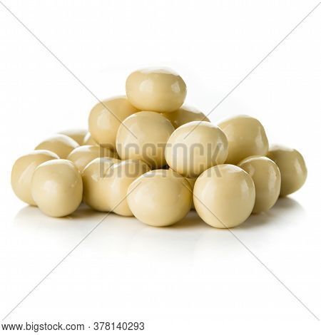 White Chocolate Candy Ball, Set Of Multiple Different Foreshortenings, Nuts In A Sweet Glaze Isolate