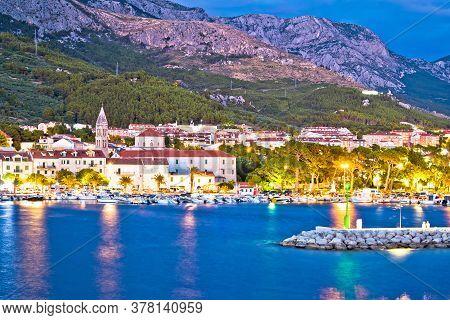 Town Of Makarska Waterfront And Biokovo Mountain Evening View, Dalmatia Region Of Croatia