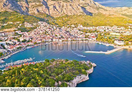Makarska. Tourist City Of Makarska Aerial View, Dalmatia Archipelago Of Croatia