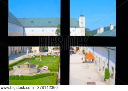 Courtyard Of Medieval Cerveny Kamen Red Stone Castle Near Casta Village, Slovakia. View From The Win