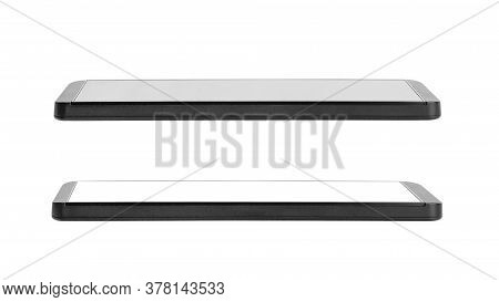 Black Touch Screen Cell Phone With Strict Design, Smart Phone Device  Islolated On A White Backgroun