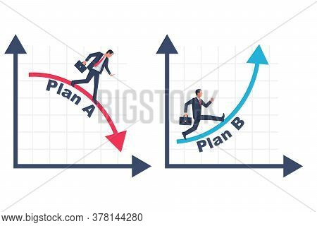 Businessman Running Business Graph On Up And Down. Business Metaphor. Plan A And Plan B. Vector Illu