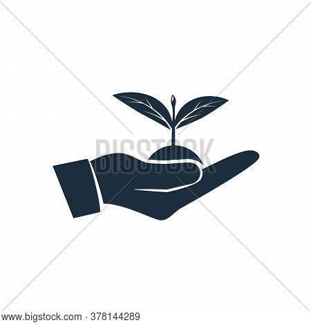 Planting Sapling Black Icon. Male Farmer, Gardener Holding Green Sprout In Hand. Care And Environmen