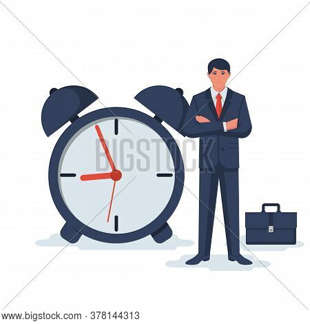 Time Control. Confident Man Is Standing Near The Clock With A Suitcase. Business Metaphor. Vector Il