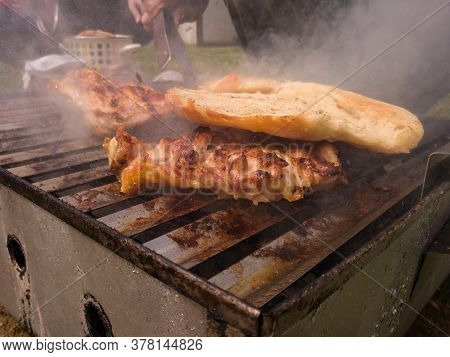 Boneless Drumsticks Are Grilled Covered With Bread To Absorb The Fat And Aroma Of Fried Meat. Chicke