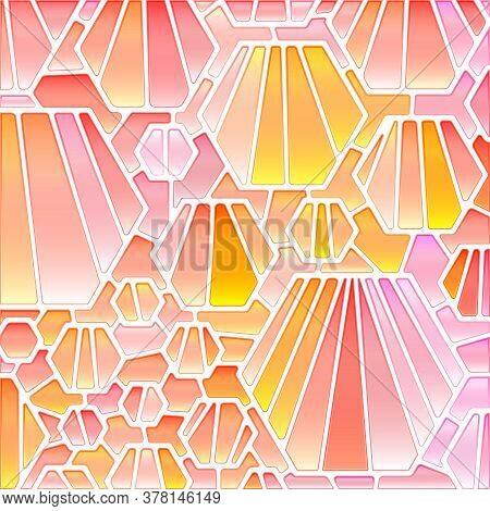 Abstract Vector Stained-glass Mosaic Background - Pink And Beige
