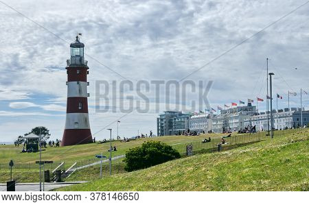 Plymouth Hoe And Smeatons Tower Situated In Plymouth City Devon Uk