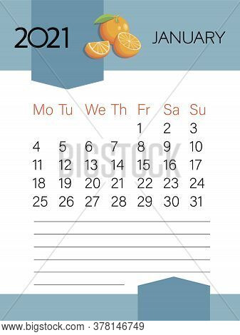 January 2021. Calendar Template. Orange Fruit. Page. Planner Diary In A Minimalist Style.