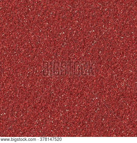 Abstract Red Christmas Glitter Background. Low Contrast Photo. Seamless Square Texture. Tile Ready.