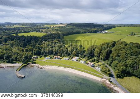 Luxury Countryside Rural Seaside Village Of Kerrycroy Aerial View From Above In Rothesay