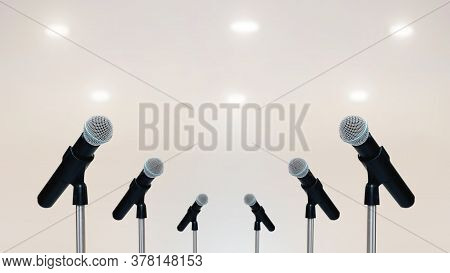 More Microphones On The Stand For Public Speaking,welcoming Or Congratulations Speech For Work Succe