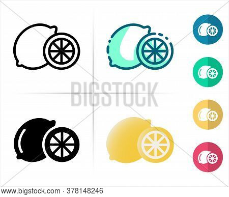 Logo Or Symbol Of Citrus Icon With Outline, Black Fill, Two Tone And  Color Flat Style, Editable Vec