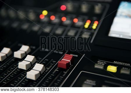 Close-up The Adjust Volume On Sound Mixer In Studio Workplace For Live The Media And Sound Recording