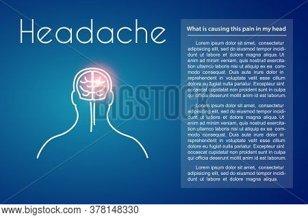 Headache Linear Medical Poster With Text. Vector Illustration Of Old Man With Pink Spot On His Head
