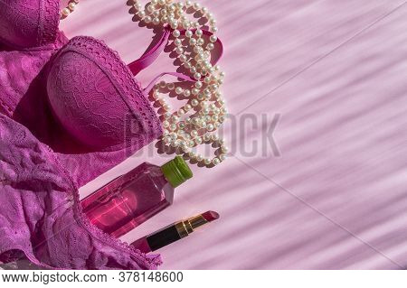 Lingerie And Cosmetic On Pink Background