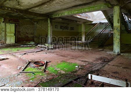 Hall Of Abandoned School In Resettled Village Of Pogonnoye In Exclusion Zone Of Chernobyl Nuclear Po