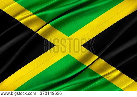 Colorful Jamaica Flag Waving In The Wind. 3d Illustration.