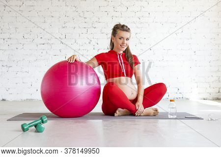 Smiling Pregnant Young Woman With A Fit Ball. Front View.
