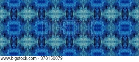 Tie Dye Print. Indigo Shibori Texture. Geometric Seamless Ornament. Blue Watercolor Background. Blue