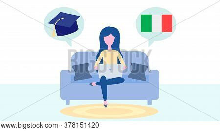 Online Italian Learning, Distance Education Concept. Language Training And Courses. Woman Student St