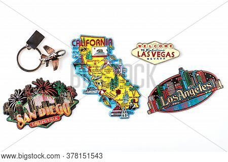 Set Of Trinkets Of The United States. California, San Diego, Las Vegas And Los Angeles Tourist Souve