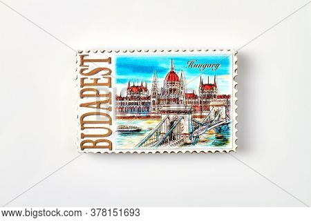 Postage Stamp Of Budapest. Isolated On White Background.