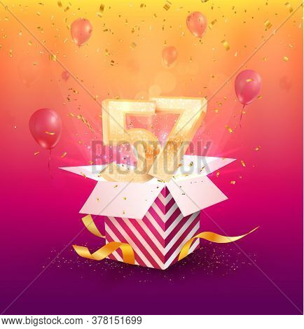 57th Years Anniversary Vector Design Element. Isolated Fifty-seven Years Jubilee With Gift Box, Ball