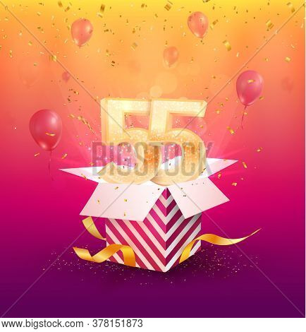 55th Years Anniversary Vector Design Element. Isolated Fifty-five Years Jubilee With Gift Box, Ballo