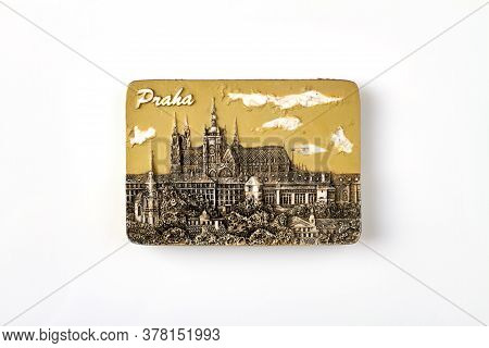 Praha Tourist Souvenir Isolated On White Background. Relief Image Of Praha Architecture. Isolated On