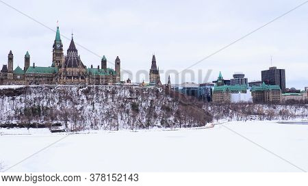 Ottawa, Ontario / Canada - March 31 2019: The Parliament Building On Canada Stands Tall On Parliamen