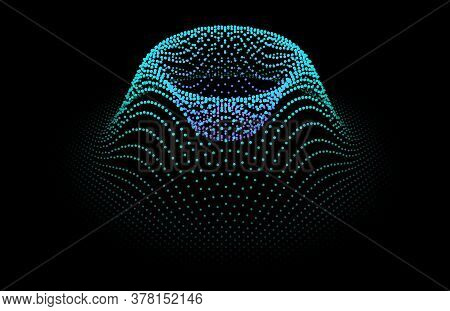 Node Surface Sea Dot Wave Glowing Stream. Drip Drop Data Information. Statistic Flow From Dynamic Pa