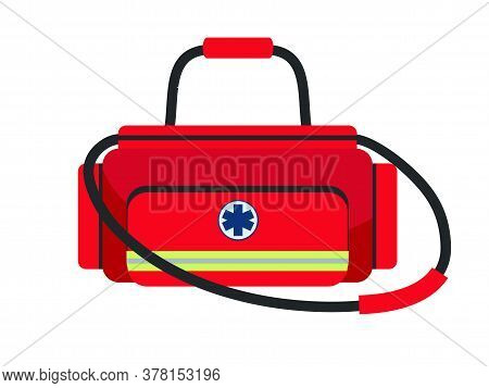 Doctor Medical Red Bag Isolated On White Background. Suitcase With Equipment And Medication For Trea