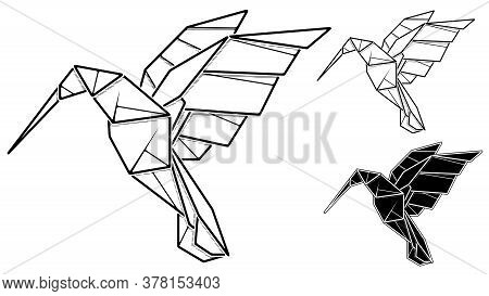 Vector Monochrome Image Of Paper Origami Of Humming Bird Colibri (contour Drawing By Line).