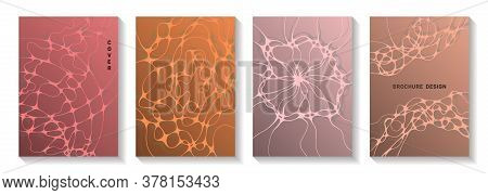 Biotechnology And Neuroscience Vector Covers With Neuron Cells Structure. Doodle Waves Tissue Backgr