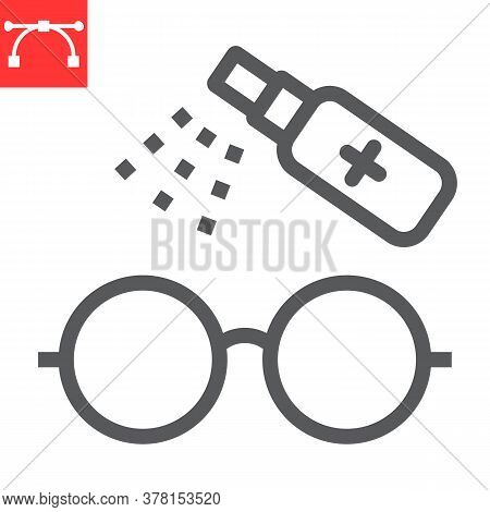 Disinfection Eyeglasses Line Icon, Hygiene And Disinfection, Cleaning Eyeglasses Sign Vector Graphic