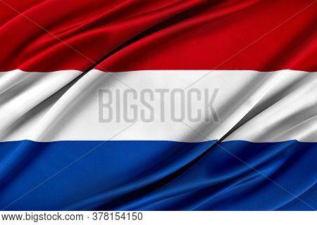 Colorful Netherlands Flag Waving In The Wind. 3d Illustration.