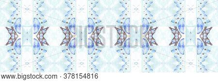 Portuguese Decorative Tiles. Aztec Blue Texture. Portuguese Decorative Tiles Background. Xmas Kilim