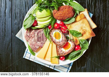 Toasts, Cheddar Cheese, Apple, Scotch Eggs, Sliced Head Cheese, Tomatoes, Spinach, Hot Mustard, Pick