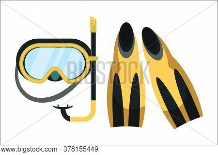 Snorkeling Equipment Flat Vector Illustration. Flippers And Diving Mask Isolated On White Background