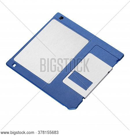 Blue 3.5-inch Floppy Disk Or Diskette Isolated On White Background