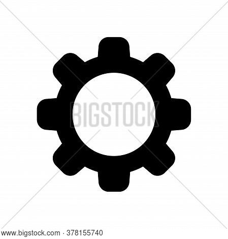 Circle Cog Black For Mechanization Icon Isolated On White, Gear Symbol For Button Icon For Progress