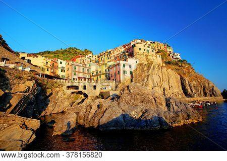 Manarola Village, Cinque Terre Coast of Italy. Manarola a beautiful small town in the province of La Spezia, Liguria, north of Italy and one of the five Cinque terre travel attractions