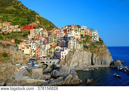 Manarola Village, Cinque Terre Coast of Italy. Manarola a beautiful small town in the province of La Spezia, Liguria, north of Italy and one of the five Cinque terre travel attractions