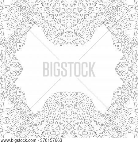 Beautiful Monochrome Linear Illustration For Adult Saint Valentines Day Coloring Book  With Romantic