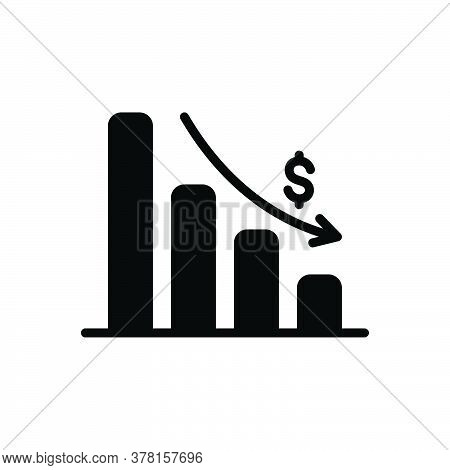 Black Solid Icon For Depleting-chart Analytics App Corporate Interface Chart Graph Stroke Depleting