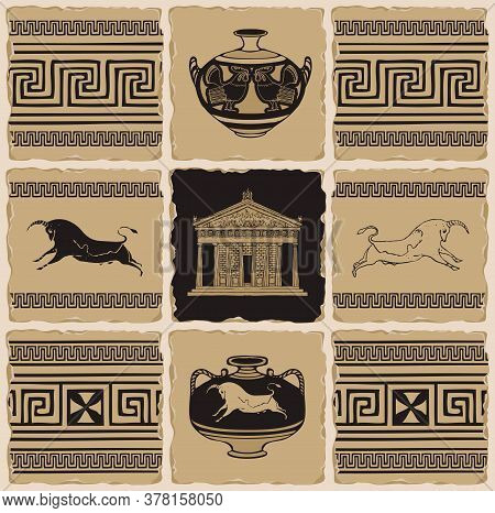 Ancient Greek Banner In The Form Of A Set Of Stone, Clay Or Ceramic Tiles. Vector Illustrations With