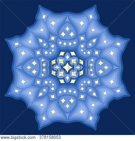 Beautiful Cosmic Illustration With Abstract Starry Pattern Isolated On The Blue Background