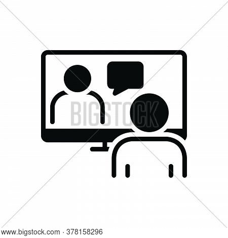Black Solid Icon For Online-conference Meeting-room Hall Conference  Executive Pedestal Video-confer