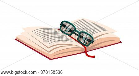Opened Paper Book With Bookmark And Glasses. Literature And Wisdom. Knowledge And Education. Writing